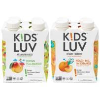 KidsLuv Vitamin Infused Flavored Kids Water, Zero Sugar, Certified Non-GMO, Vegan and Kosher, 8 ounce Tetra Pak Drink Boxes, Peach Me I'm Orange & Flying Fla-Mango, Pack of 8