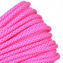 Bored Paracord - 1', 10', 25', 50', 100' Hanks & 250', 1000' Spools of Parachute 550 Cord Type III 7 Strand Paracord Well Over 300 Colors - White w/Neon Pink Diamonds - 1 Foot