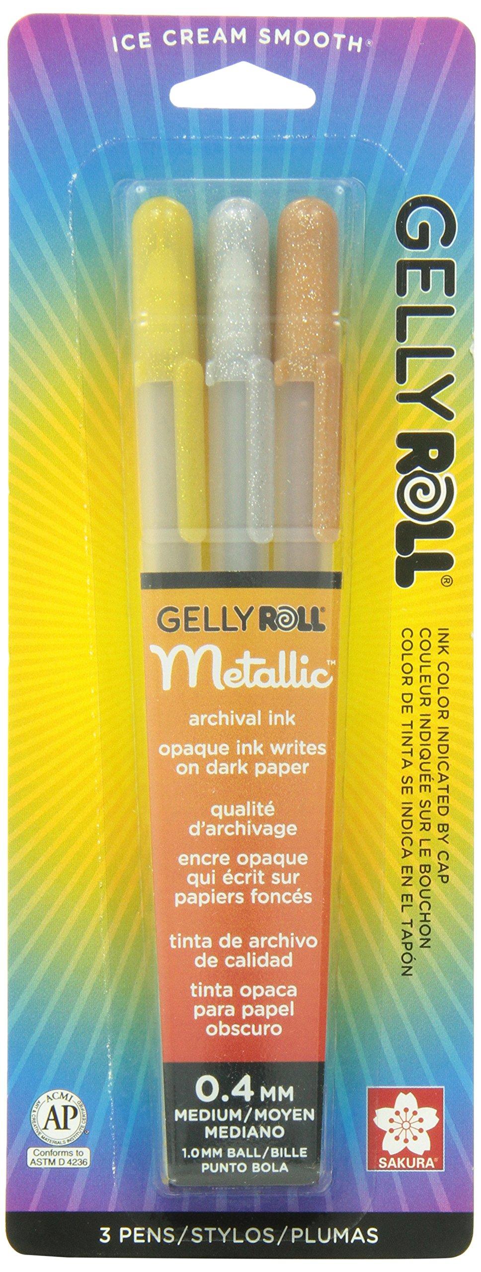 Sakura 57387 3-Piece Gelly Roll Blister Card Metallic Gel Ink Pen Set, Assorted Colors
