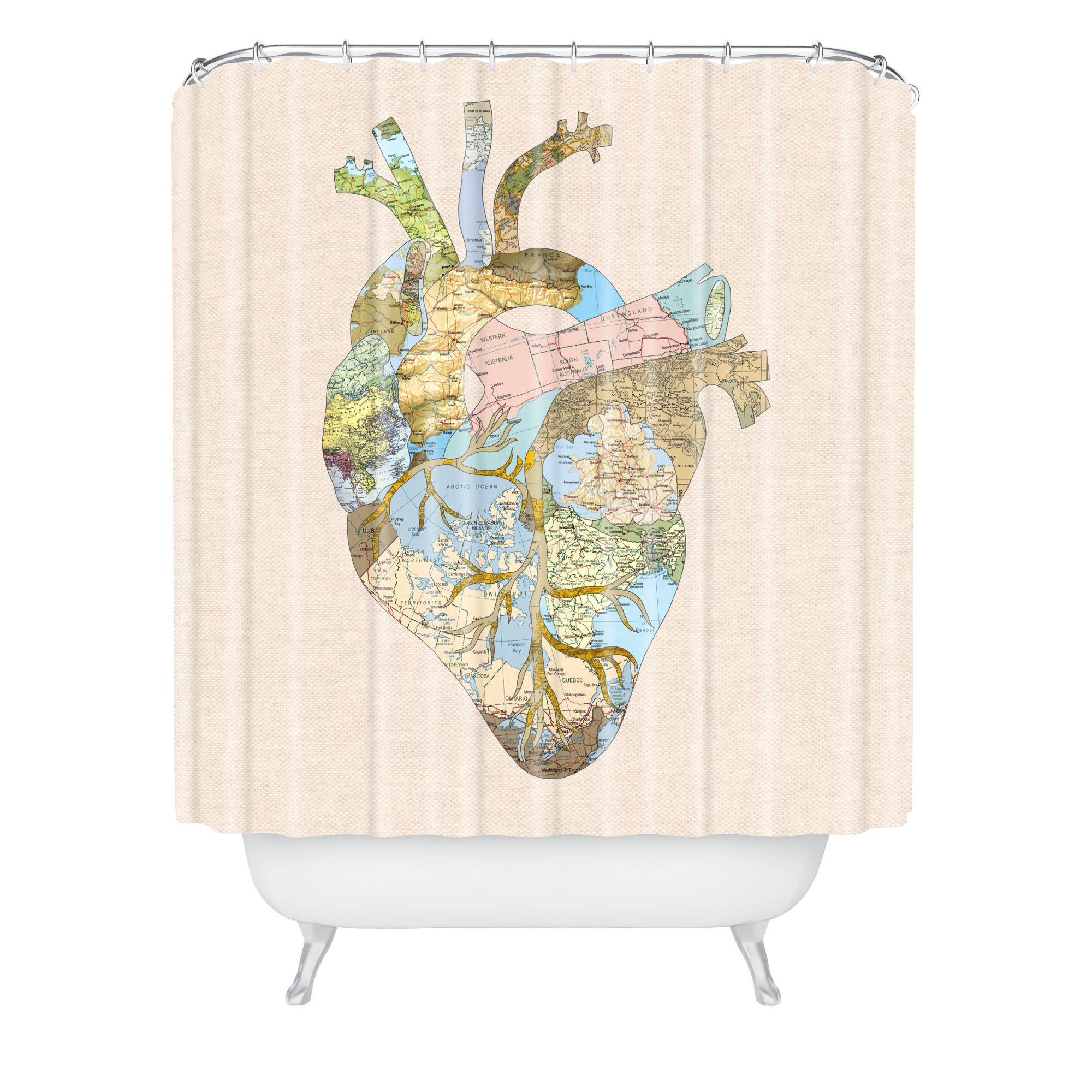 "Deny Designs Bianca Green A Travelers Heart Shower Curtain , 69"" x 90"""