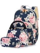H HIKKER-LINK School Backpack Set Laptop&Lunch&Pencil Bag 3pcs Medium Dark Blue