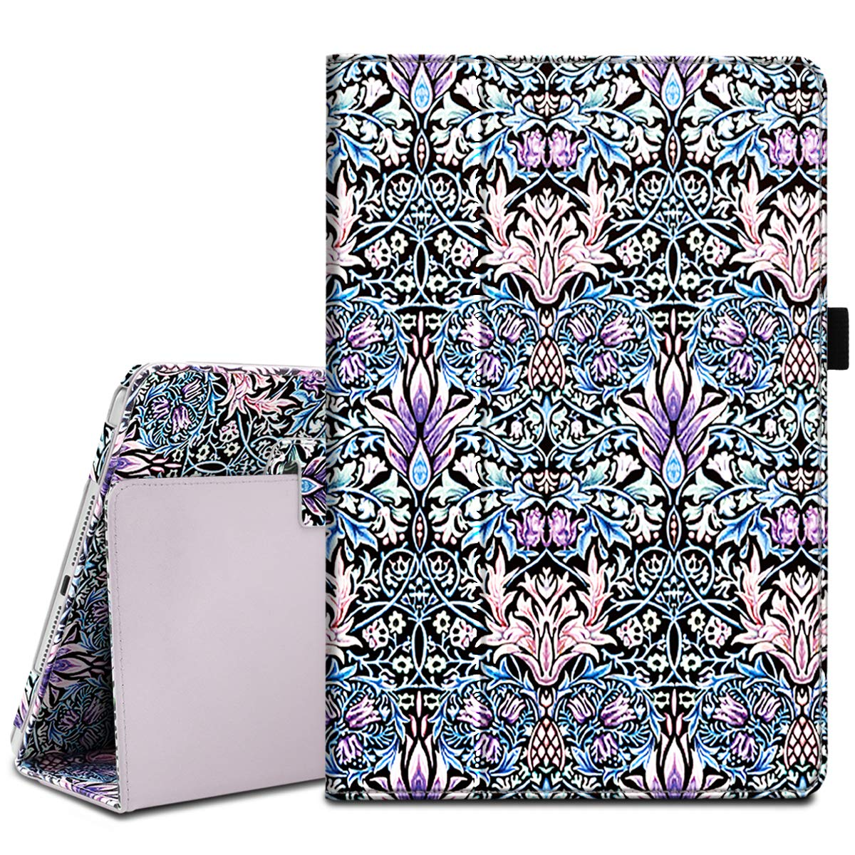 Fingic iPad 9.7 Case 2018/2017, iPad Air 2 Case, iPad Air Case, Floral Vine Pattern Design PU Leather Lightweight Folio Stand Smart Case with Auto Sleep Wake Protective Cover for iPad 9.7, Blue