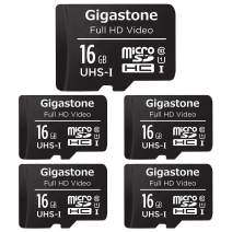Gigastone 16GB 5-Pack Micro SD Card, FHD Video, Surveillance Security Cam Action Camera Drone Professional, 90MB/s Micro SDXC UHS-I U1 Class 10
