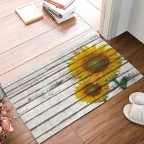 FAMILYDECOR Door Mat Rug Indoor Rubber Non Slip Entrance Way Welcome Doormats for Bathroom/Kitchen/Front Door Waterproof Absorb Floor Runner Carpet, Sunflower on Vintage Wooden Board 18x30 Inch