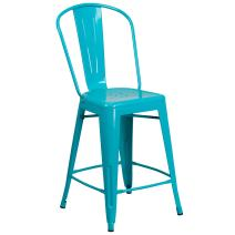 Flash Furniture 24'' High Crystal Teal-Blue Metal Indoor-Outdoor Counter Height Stool with Back