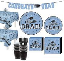Party City Powder Blue Congrats Grad 2020 Graduation Party Supplies for 36 Guests Tableware and Banner