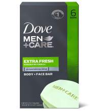 Dove Men+Care Body and Face Bar to Clean and Hydrate Skin Extra Fresh Body and Facial Cleanser More Moisturizing Than Bar Soap 3.75 oz 6 Bars