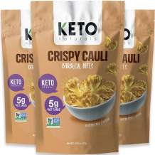 Keto Chips Low Carb Cauliflower Bites - 5g net carbs Cauliflower Chips Healthy Snacks for Kids and Adults (BBQ Flavor) Low Sugar Gluten free Vegan Paleo Atkins Food No Sugar Added Snack (3 Packs)