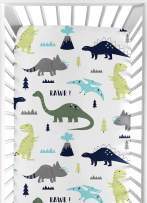 Fitted Crib Sheet for Blue and Green Modern Dinosaur Baby/Toddler Bedding Set Collection - Dinosaur Print
