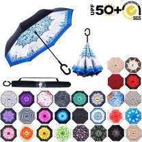ABCCANOPY Inverted Umbrella,Double Layer Reverse Rain&Wind Teflon Repellent Umbrella for Car and Outdoor Use, Windproof UPF 50+ Big Straight Umbrella with C-Shaped Handle,blue totem