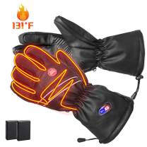 Refial Heated Gloves for Men Women Winter Warm Leather Gloves Rechargeable Battery Gloves Thermal Gloves Cold Weather Ski Motorcycle Cycling Gloves Hand Warmer