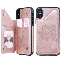 Cmeka Wallet Case for iPhone Xs with Card Holder Embossed Cat Tree Premium PU Leather Kickstand Double Magnetic Clasp Durable Shockproof Cover Rose Glod