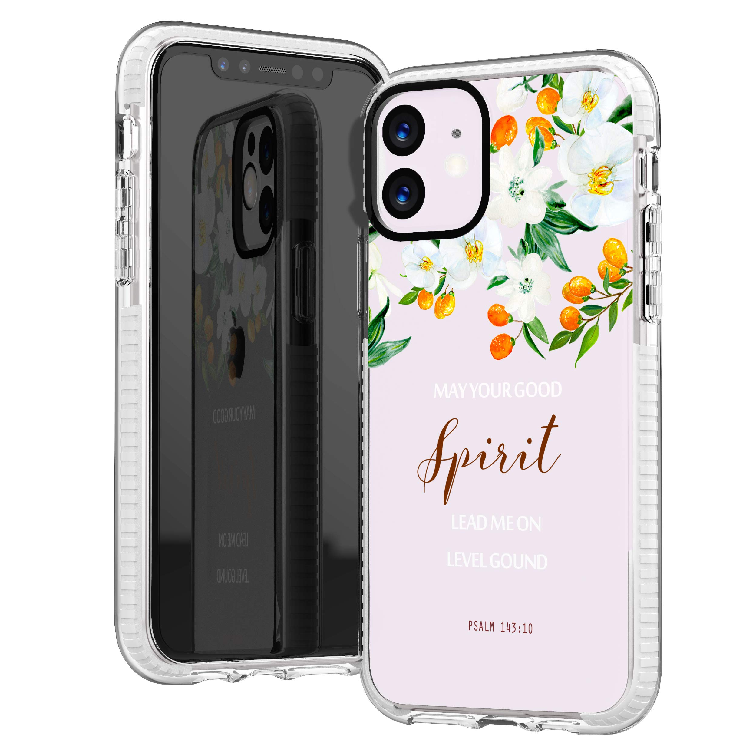 iPhone 11 Case,Cute Orange White Floral Flowers Rose Daisy Bible Verses Girls Women Christ Inspirational Christian Quotes Psalm 143:10 Trendy Soft Protective Clear Case Compatible for iPhone 11