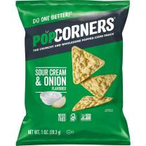 Popcorners Snacks Gluten Free Chips, Sour Cream and Onion Flavor, Pack of 20