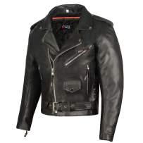 Men ICONIC Motorcycle Premium Natural Buffalo Leather Side Lace Biker Jacket S