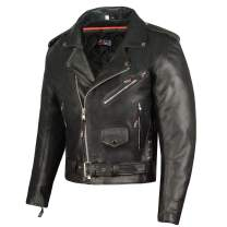 Men ICONIC Motorcycle Premium Natural Buffalo Leather Side Lace Biker Jacket XL