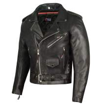 Men ICONIC Motorcycle Premium Natural Buffalo Leather Side Lace Biker Jacket S