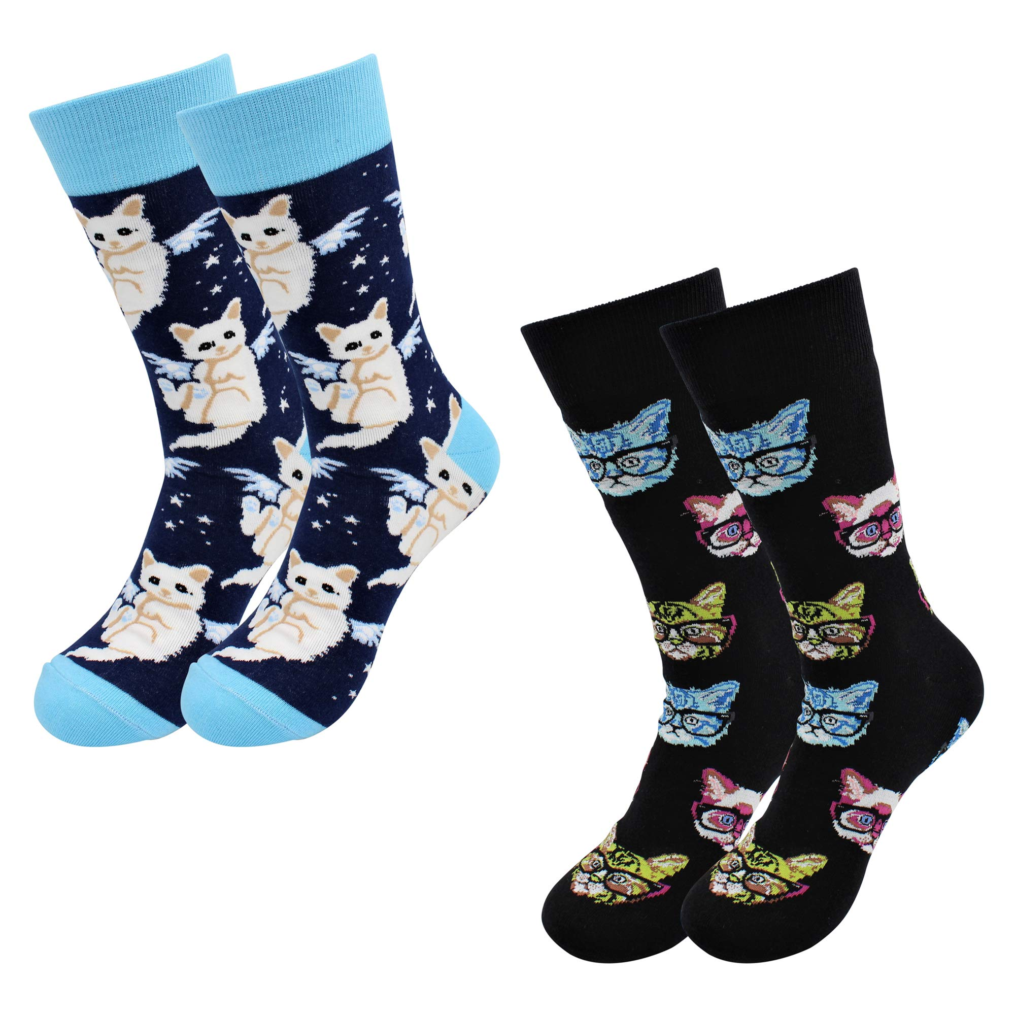 Real Sic Casual Designer Socks for Men and Women - Exotic Animal Series - Breathable and Lightwear Cotton (Cat Kitty Socks 2 Pack)