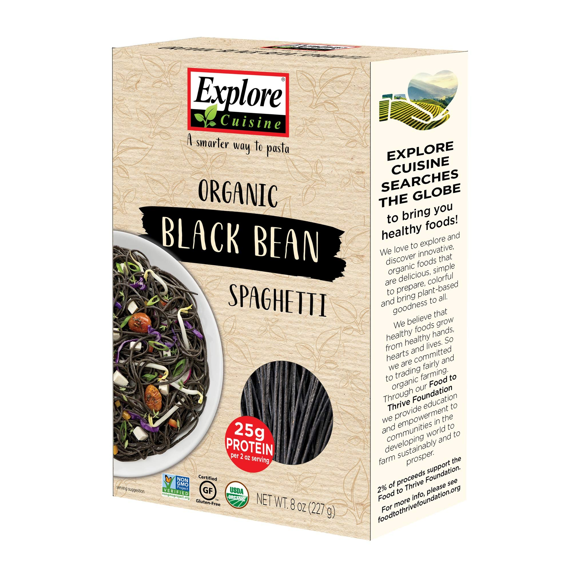 Explore Cuisine Organic Black Bean Spaghetti - 8 oz - High Protein, Gluten Free Pasta, Easy to Make - USDA Certified Organic, Vegan, Kosher, Non GMO - 4 Servings
