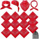 URATOT 16 Pieces Paisley Bandanas Cowboy Bandana Handkerchiefs Paisley Print Head Wrap Scarf, Assorted 16 Colors