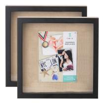 UMICAL 2 Pack - 11x11 Shadow Box Display Case - Deep Shadowbox Picture Frame with Linen Board - 3D Showcase Keepsake Art Graduation Baby Wedding - Wall Hanging & Free Standing