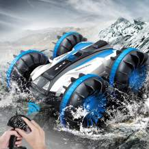 Amphibious Remote Control Car for Kids, 2.4 GHz 4WD Amphibious RC Car Boat Rotate 360° Spins & Flips Truck Stunt Vehicles, Toys for 5-12 Year Old Boys, Christmas Birthday Gifts