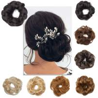 S-noilite 2PCS Scrunchies Extensions Real Human Hair Curly Wavy Elegant Chignons Messy Updo for Women Kids Donut Bun Extensions Wedding Hair Piece #01 Jet Black-Wave
