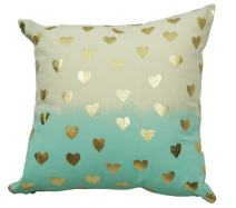"""Urban Loft by Westex Foil Hypoallergenic Pillow, Nursery Décor for Infants, Toddlers & kids, Two Tone Heart Aqua & Gold 18"""" x 18"""""""