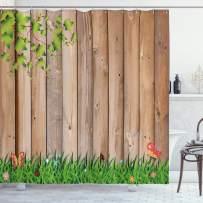 "Ambesonne Farmland Shower Curtain, Fresh Spring Season Jardin with Butterflies and Ladybugs in Park Scene Artwork, Cloth Fabric Bathroom Decor Set with Hooks, 70"" Long, Tan Green"