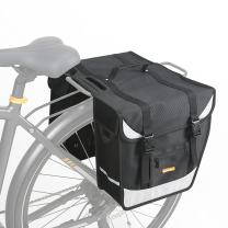 ONWAY Bike Trunk Bag - Durable & Waterproof Nylon with Reflectors Bike Pannier Bag, Large Capacity, Bottle Pouch and Shoulder Strap