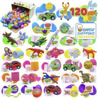120 Pcs Prefilled Premium Easter Eggs Hinged 2 ⅜ with Toys and Temporary Tattoo Stickers for Easter Theme Party Favor, Eggs Hunt, Basket Stuffers Fillers, Classroom Prize Supplies