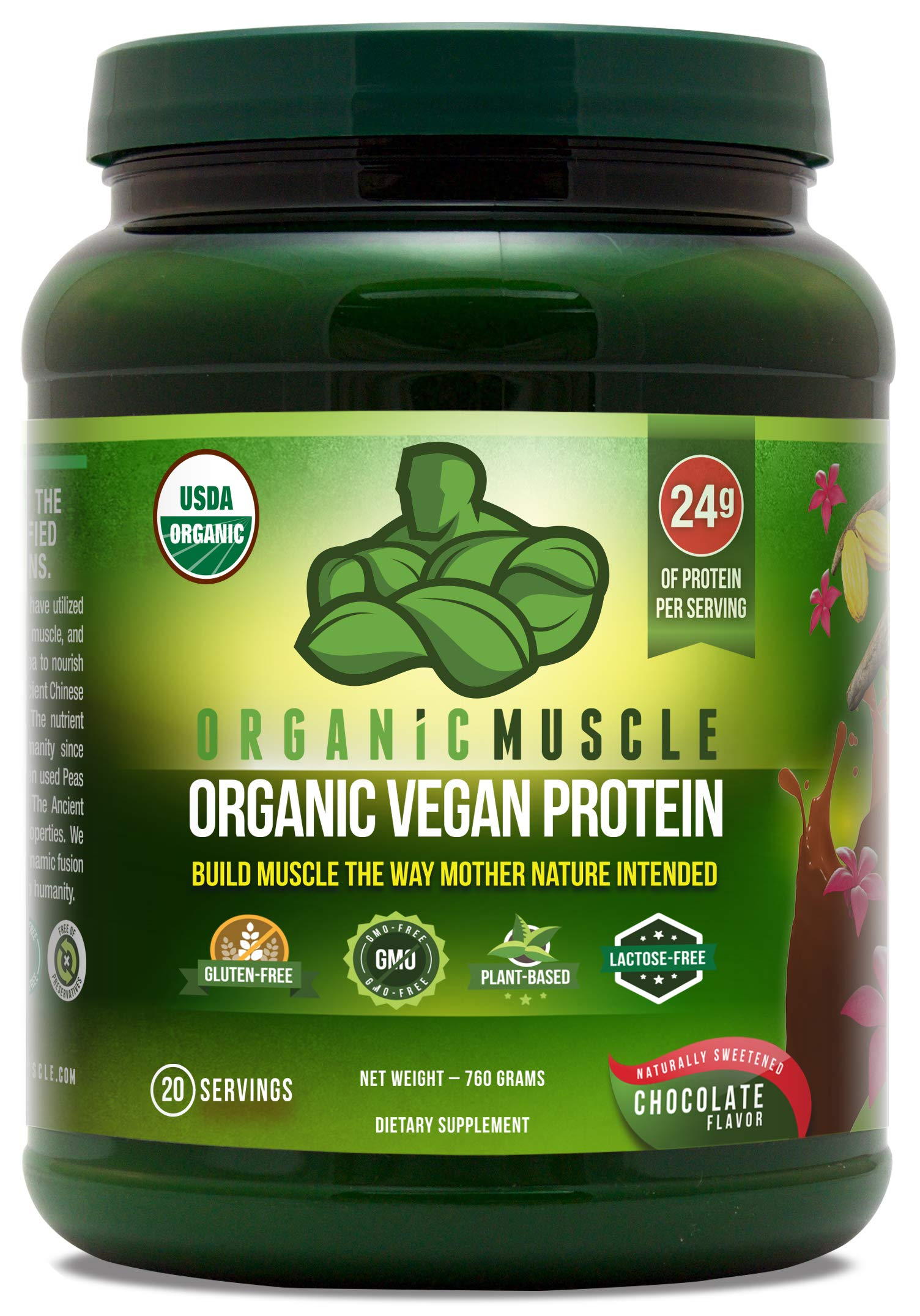 Organic Vegan Protein Powder - Great Tasting Chocolate Flavor W/ 24g of Protein -100% Organic Plant Based Protein Blend of Pea, Hemp, Rice Protein +Chia, Flax Seed, More -760g