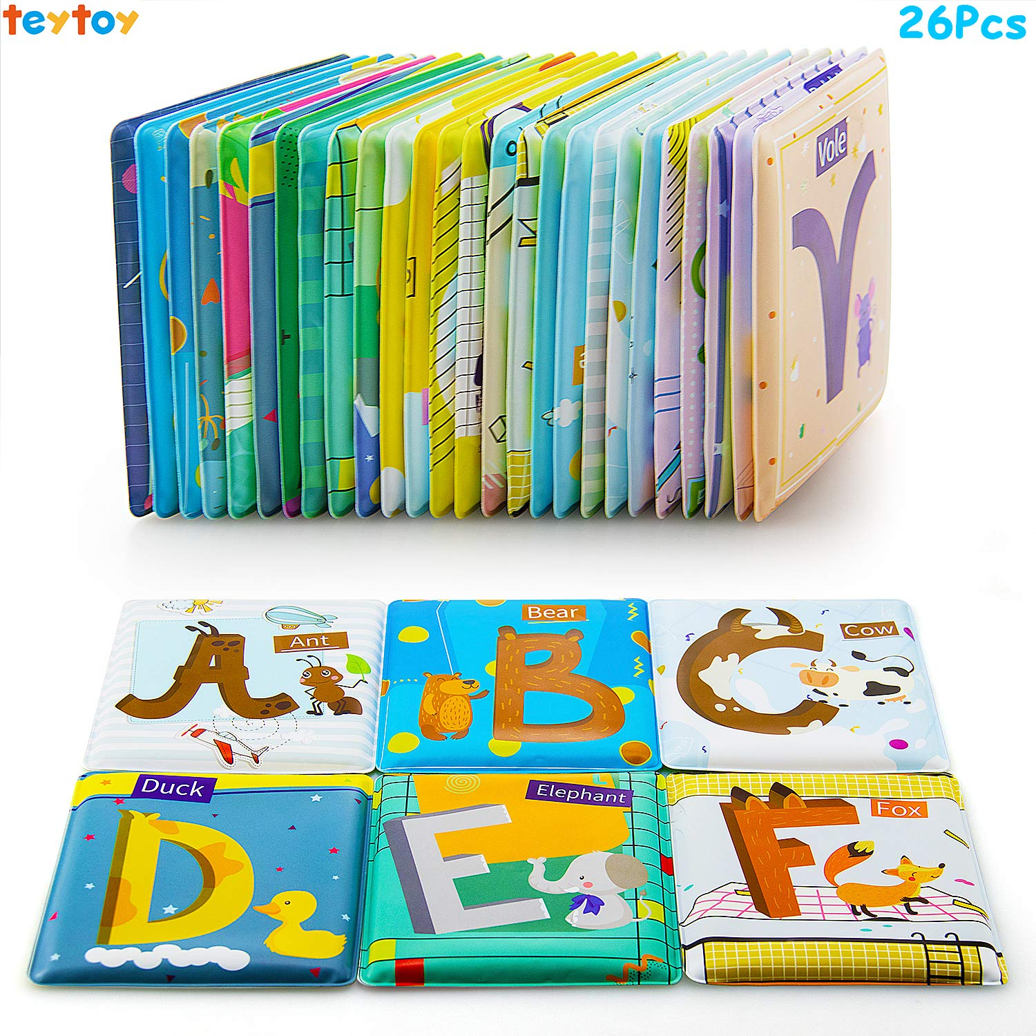 teytoy Alphabet Cards Baby Toys, Soft Alphabet Flash Cards, 26 pcs ABC Infant Early Learning Educational Toy, Activity Bath Bathtub Shower Toy for Toddlers Kids Boys Girls Over 0 Years