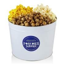 Popcorn Palooza Gourmet Popcorn Tin - 2 Gallon Cheese & Caramel Popcorn Gift Baskets Variety Pack Flavored Valentines Day Popcorn Gift Basket Set Snack for Parties & Holidays (Caramel/Cheddar/Sweet Heat)