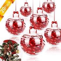GIKPAL Clear Fillable Ornaments Ball - Pack of 20 PCS Individual Transparent Plastic Craft Ornaments 80mm for DIY Christmas and Party Decor