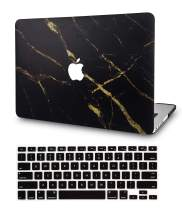 LuvCase2in1LaptopCasewithKeyboardCoverforMacBookAir 13 Inch A1466 / A1369 (No Touch ID)RubberizedPlasticHardShellCover (Black Gold Marble)