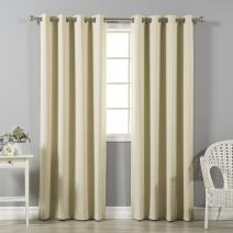 """Best Home Fashion Premium Thermal Insulated Blackout Curtains - Stainless Steel Nickel Grommet Top - Beige - 52"""" W x 84"""" L - (Set of 2 Panels)"""