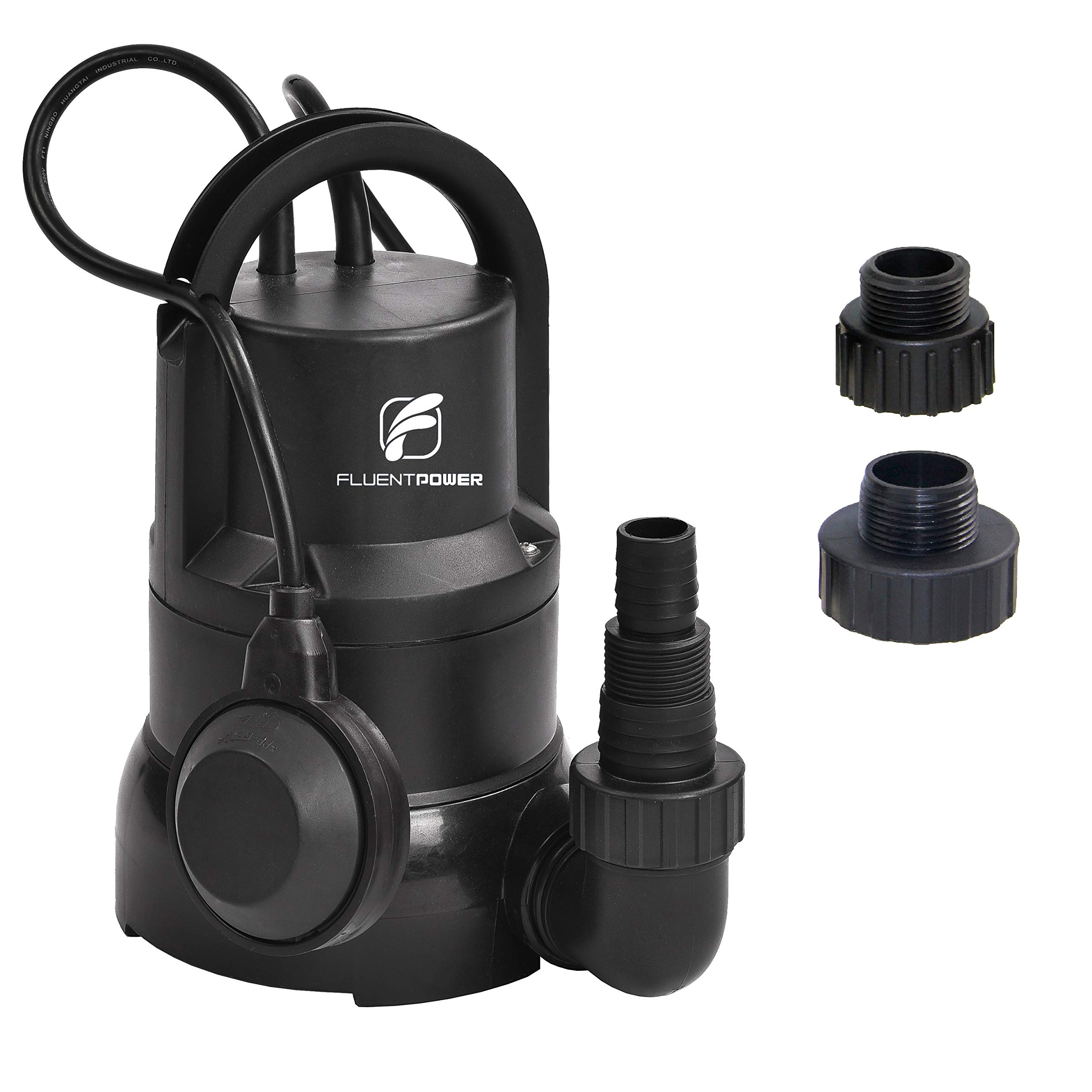 """FLUENTPOWER 1/3 HP Electric Submersible Small Utility Drain Water Pump 3/4"""" Garden Hose Connector Included with Side Discharge for Clean Water"""