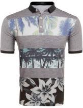 COOFANDY Men's Fashion T-Shirt Casual Cotton Striped Short Sleeve Polo Shirt