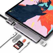 """USB C Hub for iPad Pro 2018, 7 in 1 USB C Dongle with 4K HDMI, USB C PD Charging, 3.5mm Headphone Jack, SD/TF Card Reader, USB 3.0, Compatible with 2018/2020 iPad Pro 11/12.9"""", Surface Go (Space Grey"""
