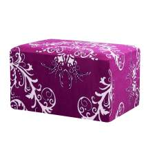 TIKAMI Ottoman Slipcovers Spandex Elastic Stretch Rectangle Folding Storage Covers Removable Footstool Protect Oversized Footrest Covers(Amaranth Pattern)