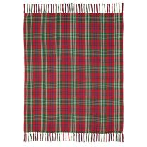 """VHC Brands Christmas Holiday Pillows & Throws-Connor Red Woven Throw, 60"""" x 50"""""""