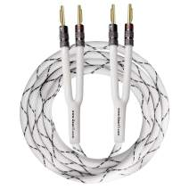 GearIT 12AWG Premium Heavy Duty Braided Speaker Wire (6 Feet) with Dual Gold Plated Banana Plug Tips - Oxygen-Free Copper (OFC) Construction, White