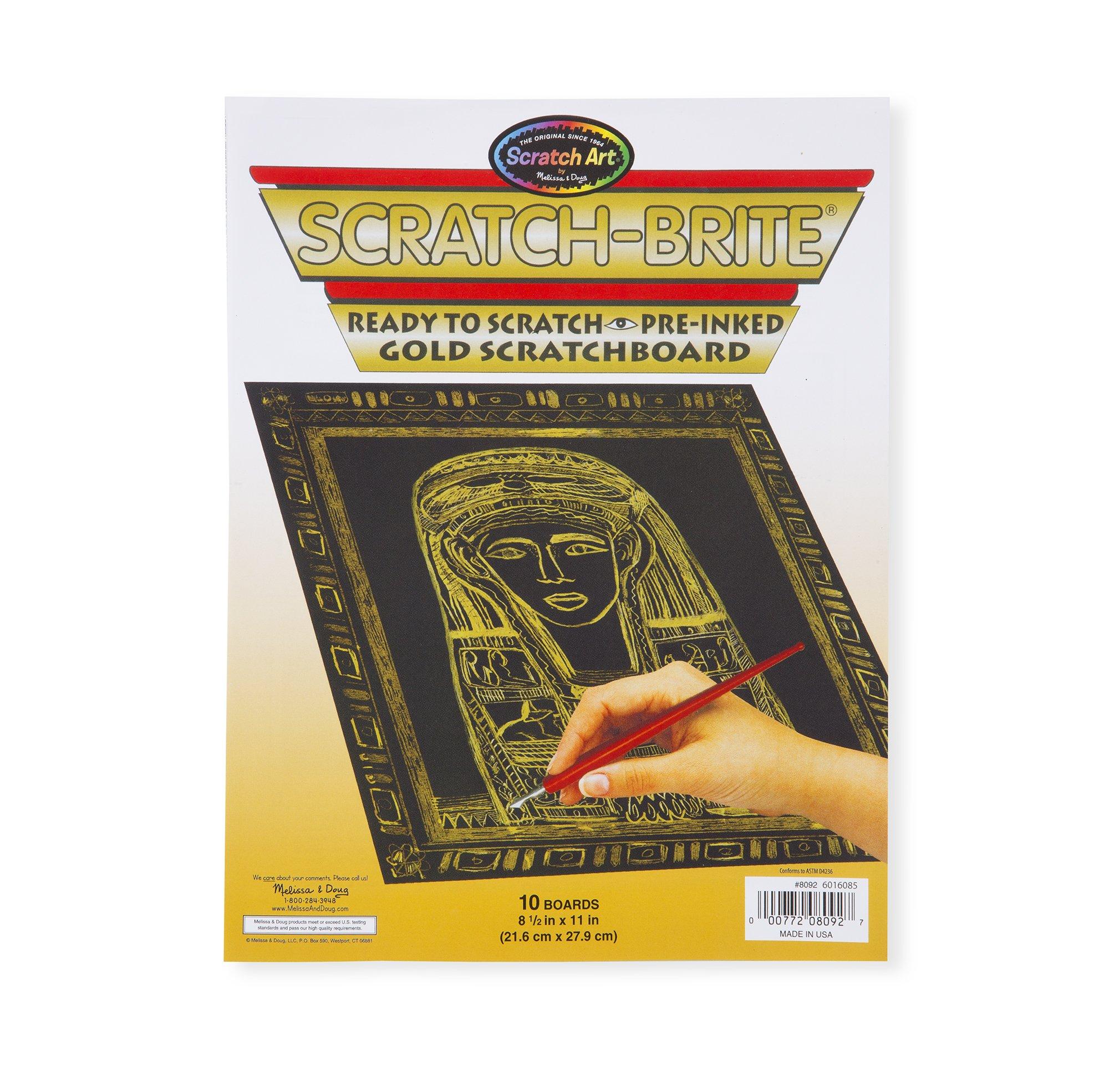Melissa & Doug Scratch Art Scratchboard - 10-Pack, Shimmering Gold on Black Background