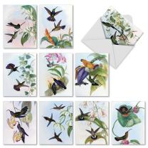 Watercolor Painted Hummingbird Note Cards (10 Pack) - Beautiful Blank Greeting Cards for All Occasions - Assorted Bird and Flower Notecards 'Humming Along' - Stationery Cards with Envelopes M10034BK