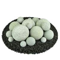 Ceramic Fire Balls | Mixed Set of 18 | Modern Accessory for Indoor and Outdoor Fire Pits or Fireplaces – Brushed Concrete Look | Pewter Gray, Speckled