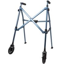 Able Life Space Saver Walker, Lightweight Folding 2 Wheel Rolling Walker for Seniors with Fixed Wheels, Cobalt Blue