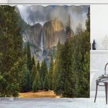 "Ambesonne Yosemite Shower Curtain, Yosemite Falls Evergreen Forest Fall Season Scenery Yosemite National Park Print, Cloth Fabric Bathroom Decor Set with Hooks, 84"" Long Extra, Green Grey"