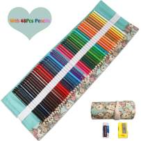 48 Colored Pencils Set, Art Color Pencils Drawing Kit with Portable Roll-Up Canvas Pouch Ideal for Adults, Artists, Sketchers & Children