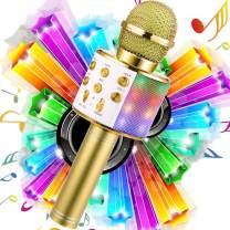 WDERNI Wireless Karaoke Microphone Bluetooth, 3 in 1 Wireless Portable Handheld Mic Karaoke Machine for Christmas Home Birthday Party, Voice Disguiser Karaoke Microphone for Kids(Gold-LED)